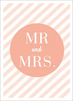 Wedding Card Mr And Mrs Peach