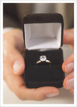 Engagement Card Palm Press Diamond Ring