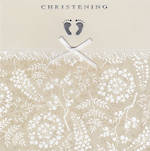 Baby Christening Card Baby feet and Ribbon