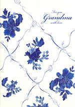 Grandmother Birthday Card Avocado Blue Flowers