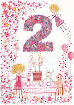 Birthday Age Card 2 Girl Daisy Patch Cake