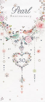 Anniversary Card 30th Pearl Florentine Bird