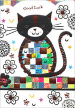 Good Luck Card Mosaic Bronze Cat