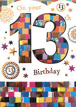 Birthday Age Card 13 Female Mosaic