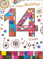 Birthday Age Card 14 Female Mosaic