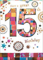 Birthday Age Card 15 Female Mosaic