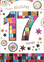 Age Card 17 Female Birthday Mosaic