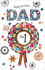Dad Birthday Card Mosaic Large No 1 Ribbon