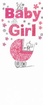 Baby Card Girl Sugar Pips Pram