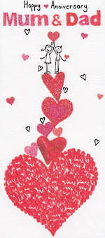 Anniversary Card Mum & Dad Sugar Pips Tower Hearts