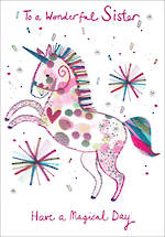Sister Birthday Card Umami Unicorn