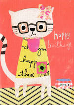 Kids' Birthday Card: Lally Do Happy Cat