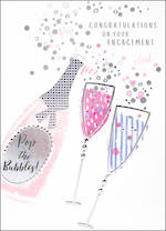 Engagement Card Enamel Rose Bubbles