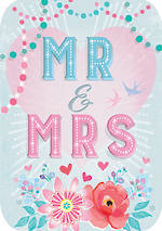 Wedding Card Retro Flair Mr & Mrs