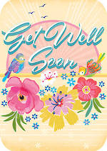 Get Well Card Retro Flair Tropical