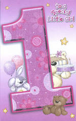 Age Card 1 Girl Fizzymoon Bear & Cake
