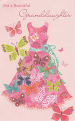 Grandaughter Birthday Card Tall Beautiful Pink Dress