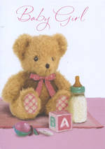 Baby Card Girl Simson Teddy & Bottle