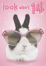 Age Card 14 Girl Bingo Bango Birthday Bunny