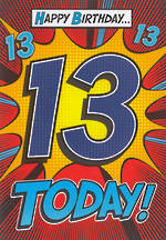 Birthday Age Card 13 Male Bingo Bango Comic