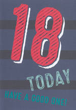 Birthday Age Card 18 Male Bingo Bango Stripes