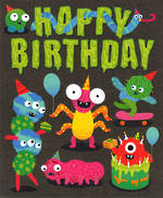 Kids' Birthday Card: Monsters