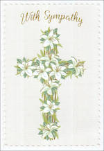 Sympathy Card Cross With Lilies