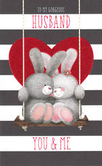 Anniversary Card Husband Bunnies on Swing