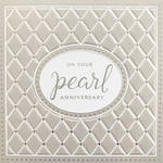 Anniversary Card 30th Pearl Quilted Silver