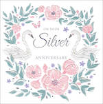 Anniversary Card 25th Silver Isabella Flitter Swan