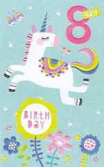 Birthday Age Card 8 Girl Yay Unicorn
