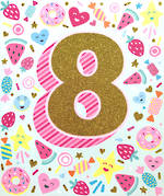 Age Card 8 Girl Birthday Gold Flitter