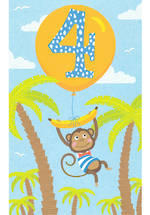 Birthday Age Card 4 Boy Monkey