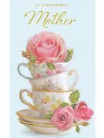 Mother Birthday Card Teacups & Roses