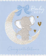 Baby Card Boy Congratulations Elephant