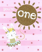 Age Card 1 Girl Sun Balloon