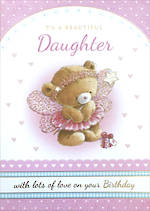 Daughter Birthday Card: Teddy Pink