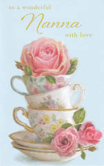 Grandmother Birthday Card Nanna Teacups & Roses