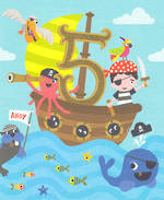 Age Card 5 Boy Birthday Bingo Bango Pirate