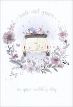 Wedding Card Car Bride and Groom