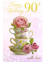 Age Card 90 Female Birthday Teacup Stack