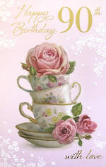 Birthday Age Card 90 Female Teacup Stack