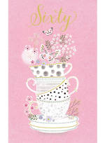 Birthday Age Card 60 Female Teacups