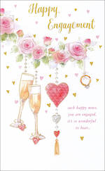 Engagement Card Tall Roses And Champagne