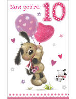 Birthday Age Card 10 Girl Tall Dog