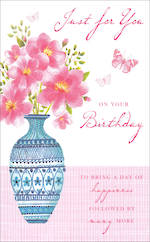 Birthday Card Female Willow Blue Vase