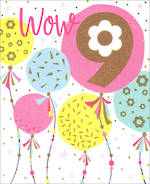 Birthday Age Card 9 Girl Big Balloons