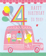 Birthday Age Card 4 Girl Ice Cream Truck
