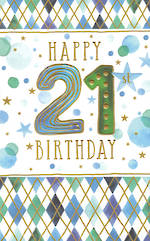Birthday Age Card 21 Male Tall Diamonds