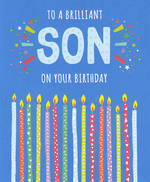 Son Birthday Card Candles Blue